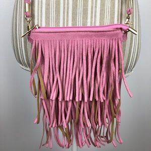 Pink Fringe Faux Suede Cross Body Purse